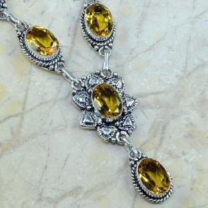 Ct 0133c collier sautoir parure citrine lemon citron argent 925 achat vente bijou