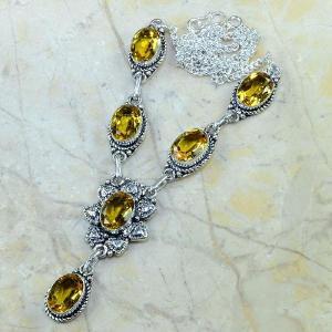Ct 0133d collier sautoir parure citrine lemon citron argent 925 achat vente bijou