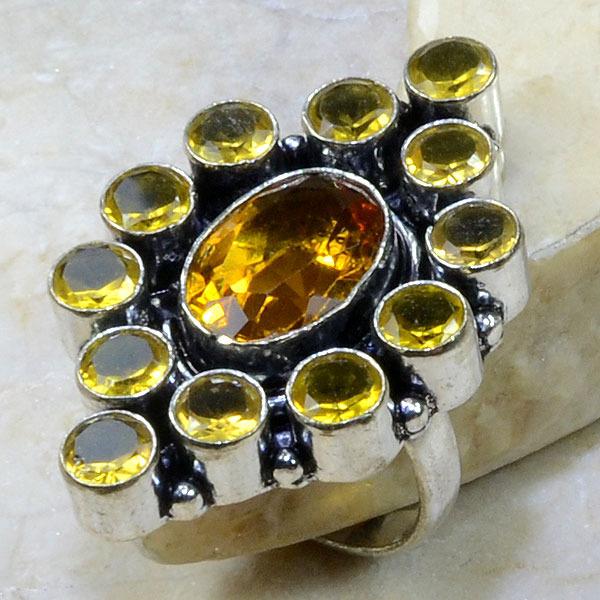 Ct 0135a bague t60 citrine lemon citron argent 925 bijoux achat vente