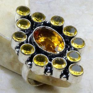 Ct 0135b bague t60 citrine lemon citron argent 925 bijoux achat vente