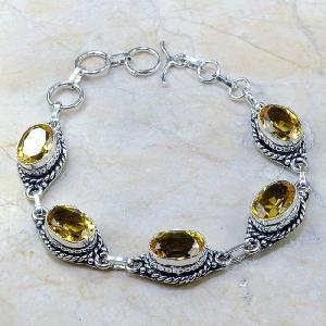 Ct 0137a bracelet citrine doree lemon citron madere argent 925 bijoux achat vente
