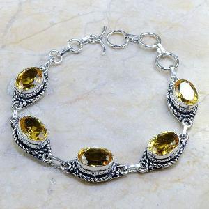Ct 0137d bracelet citrine doree lemon citron madere argent 925 bijoux achat vente