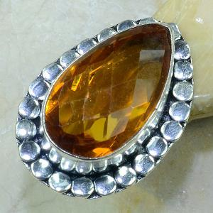 Ct 0138a bague t57 citrine lorange madere argent 925 bijoux achat vente