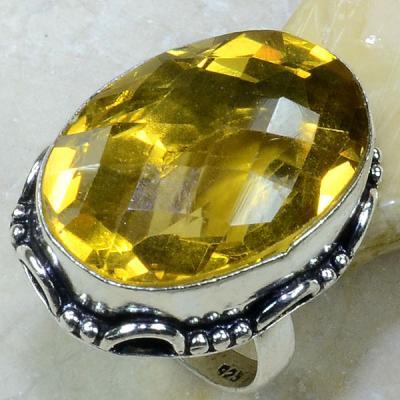 Ct 0139a bague t58 citrine lemon citron argent 925 bijoux achat vente