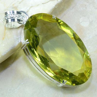 Ct 0140a pendentif pendant pierre taillee citrine lemon citron argent 925 bijoux achat vente