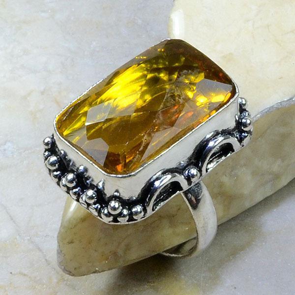 Ct 0143a bague t63 citrine lemon citron argent 925 bijoux achat vente
