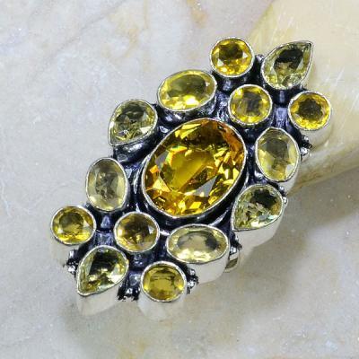 Ct 0147a bague t57 citrine lemon citron argent 925 bijoux achat vente