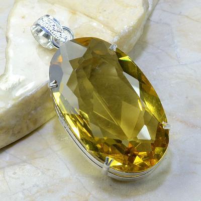 Ct 0149a pendentif pendant pierre taillee citrine lemon doree argent 925 bijoux achat vente