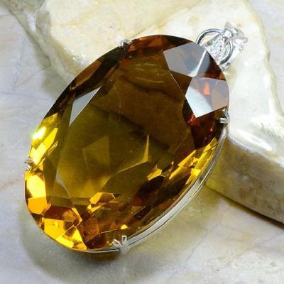 Ct 0150a pendentif pendant pierre taillee citrine lemon doree argent 925 bijoux achat vente