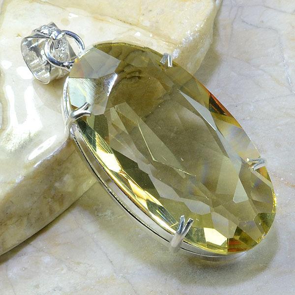 Ct 0151a pendentif pendant pierre taillee citrine lemon citron argent 925 bijoux achat vente