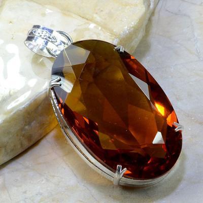 Ct 0153a pendentif pendant pierre taillee citrine orange madere argent 925 bijoux achat vente 1