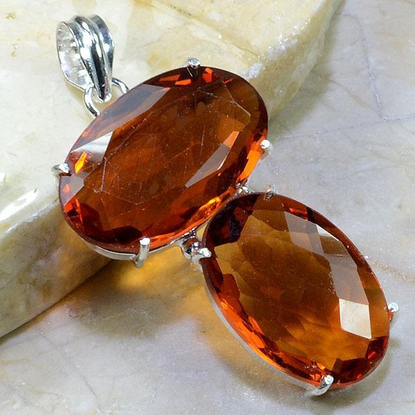 Ct 0154a pendentif pendant pierre taillee citrine orange madere argent 925 bijoux achat vente