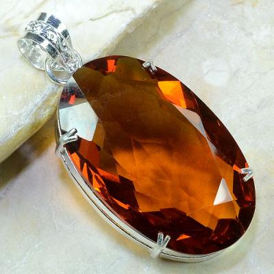 Ct 0155a pendentif pendant pierre taillee citrine orange madere argent 925 bijoux achat vente