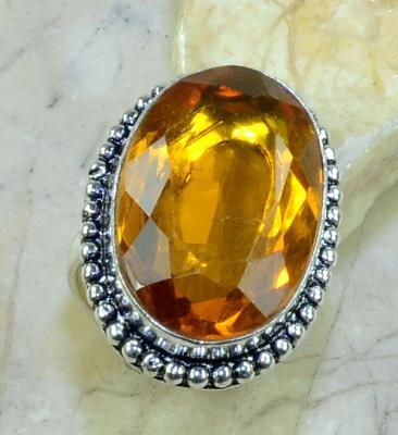 Ct 0157a bague t58 citrine orange argent 925 bijoux achat vente