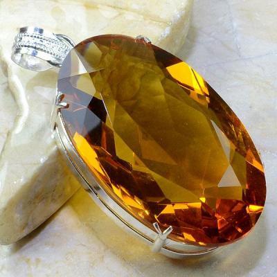 Ct 0160a pendentif pendant pierre taillee citrine orange madere argent 925 bijoux achat vente