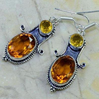 Ct 0161b boucles pendants oreilles citrine doree achat vente argent 925
