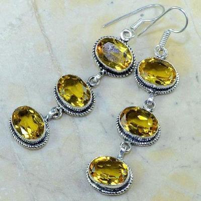 Ct 0163b boucles pendants oreilles citrine doree argent 925 achat vente bijoux