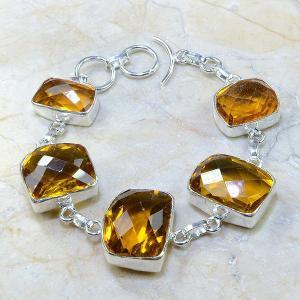 Ct 0165a bracelet citrine doree lemon citron madere argent 925 bijoux achat vente