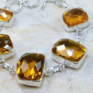 Ct 0165c bracelet citrine doree lemon citron madere argent 925 bijoux achat vente