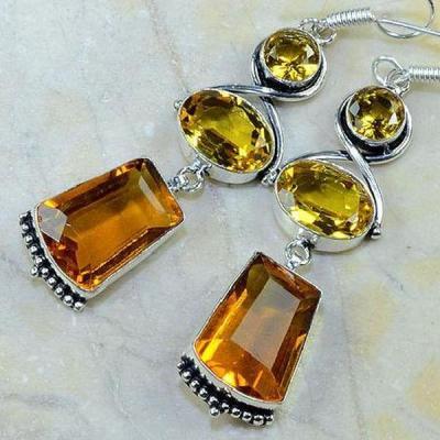 Ct 0167b boucles oreilles pedants citrine madere argent 925 bijoux achat vente