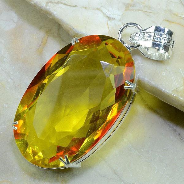 Ct 0175b pendentif pendant pierre taillee citrine lemon citron argent 925 bijoux achat vente