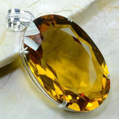Ct 0176a pendentif pendant pierre taillee citrine lemon citron argent 925 bijoux achat vente