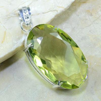 Ct 0177a pendentif pendant pierre taillee citrine lemon citron vert argent 925 bijoux achat vente