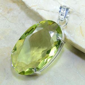 Ct 0177b pendentif pendant pierre taillee citrine lemon citron vert argent 925 bijoux achat vente