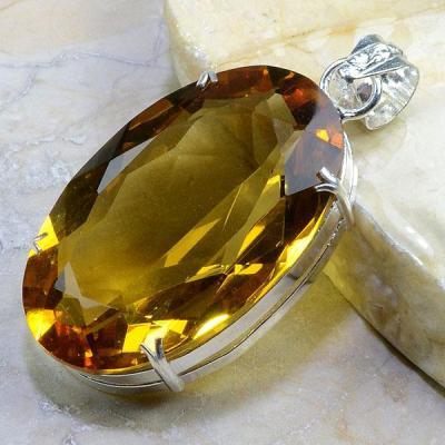 CT-0179 - Enorme PENDENTIF PENDANT 70 mm en CITRINE Dorée - 195 carats - 39 gr