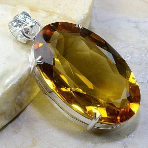 Ct 0179b pendentif 39gr pendant pierre taillee citrine lemon doree argent 925 bijoux achat vente