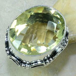 Ct 0183a bague t59 citrine lemon citron argent 925 bijoux achat vente
