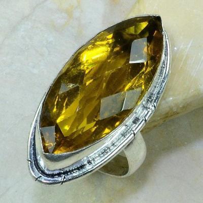 Ct 0187a bague t61 citrine lemon citron argent 925 bijoux achat vente