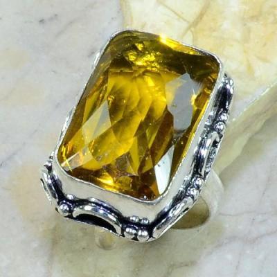 Ct 0189a bague t62 citrine lemon citron argent 925 bijoux achat vente