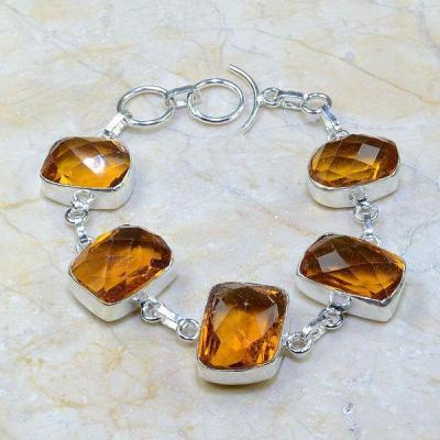 Ct 0191b bracelet citrine orange madere argent 925 bijoux achat vente