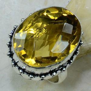 Ct 0196a bague t59 citrine lemon citron argent 925 bijoux achat vente