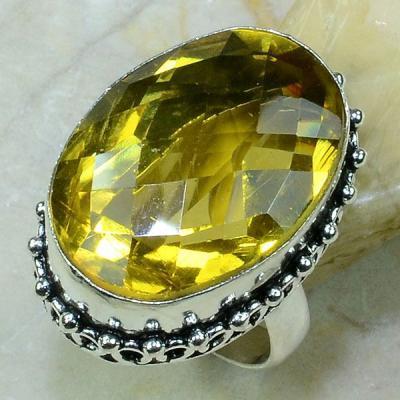 Ct 0197a bague t58 citrine lemon citron argent 925 bijoux achat vente