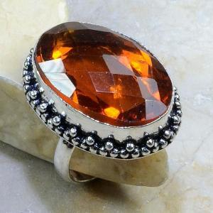 Ct 0198c bague t61 citrine madere orange argent 925 bijoux achat vente