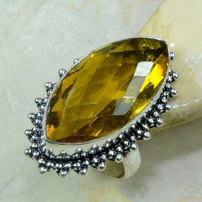 Ct 0212a bague t61 citrine lemon citron argent 925 bijoux achat vente