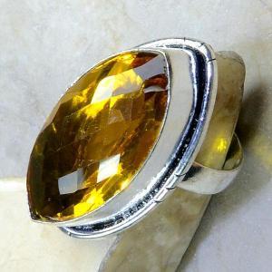 Ct 0213c bague t61 citrine lemon citron argent 925 bijoux achat vente