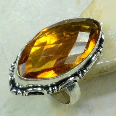 Ct 0214a bague t61 citrine lemon citron argent 925 bijoux achat vente