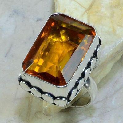 Ct 0218a bague t57 citrine madere orange argent 925 bijoux achat vente