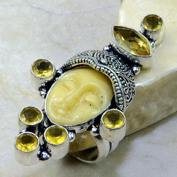 Ct 0220a bague t54 citrine lemon citron jade bouddha argent 925 bijoux achat vente