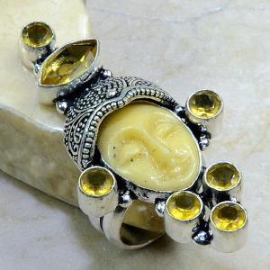 Ct 0220b bague t54 citrine lemon citron jade bouddha argent 925 bijoux achat vente