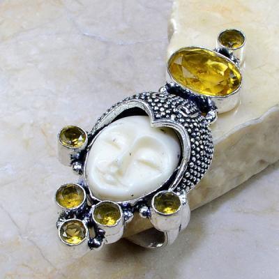 Ct 0222a bague t59 citrine lemon citron jade bouddha argent 925 bijoux achat vente