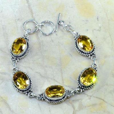 Ct 0227a bracelet citrine doree lemon citron argent 925 bijoux achat vente
