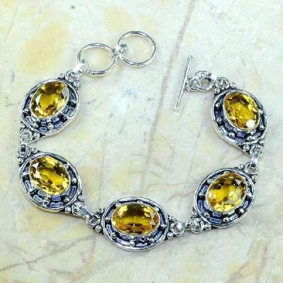 Ct 0231a bracelet citrine doree lemon citron argent 925 bijoux achat vente