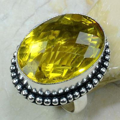 Ct 0232a bague t62 citrine lemon citron argent 925 bijoux achat vente