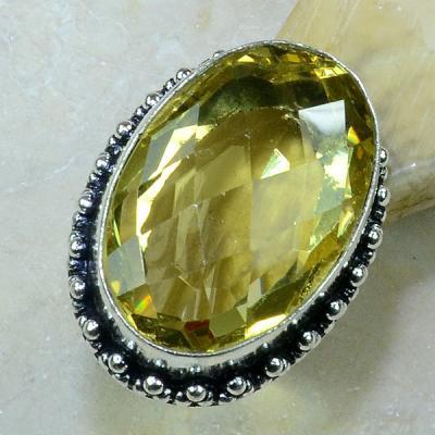 Ct 0237a bague t58 citrine lemon citron argent 925 bijoux achat vente