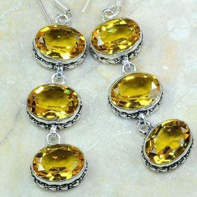 Ct 0243c boucles pendants oreilles citrine achat vente argent 925
