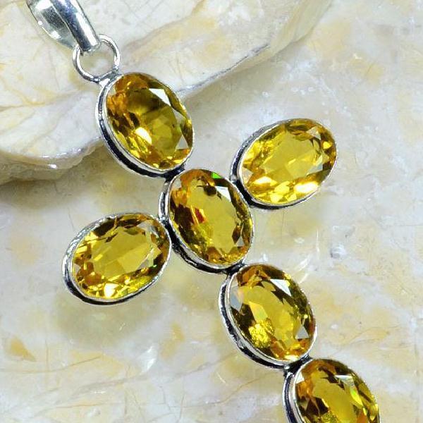 Ct 0262c croix pendentif pendant pierre taillee citrine lemon citron argent 925 bijoux achat vente